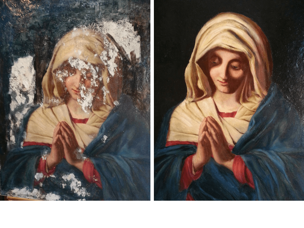 madonna painting restoration before and after